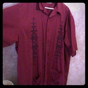 Men's short sleeve button front dress shirt
